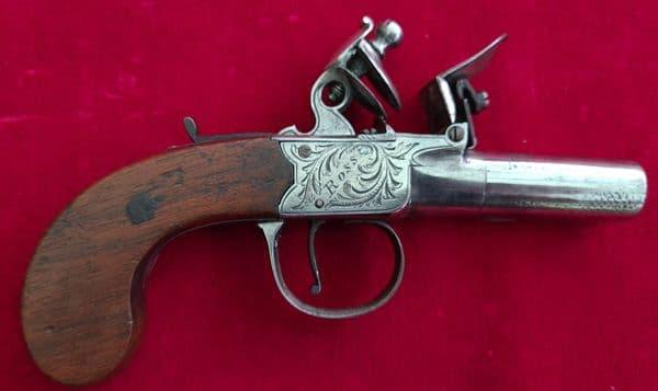 A good English Flintlock pistol with a screw-off barrel by Plumb of Ross-on-Wye.  C.1800.  Ref 2896